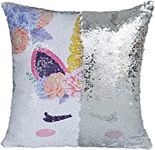IFOLAINA Unicorn Magic Reversible Sequin Pillow Cover Mermaid Pillow Case Decorative Throw Cushion Case Sewn Zipper Hidden Fun to Play with Family in Living Room, Cars and Bedroom