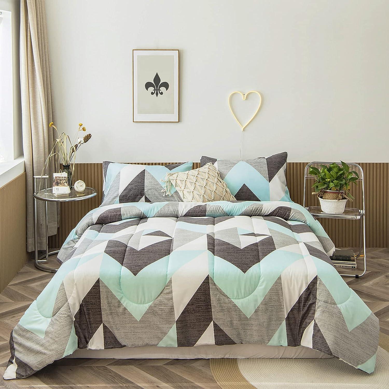 Bedbay Teal 2021 model and Grey Comforter Set S Size Bedding King Geometric Finally resale start