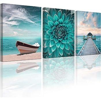 Amazon Com Ocean Wall Art Nautical Canvas Art Wall Bedroom Wall Art Marine Theme Green Flower Beach Picture Boat Sea Bridge 12x16 Inch 3 Panel Canvas Printed Artwork Home Decor Living Room Bathroom