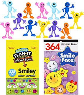 3 Inch Smiley Theme Bendable Toy Figures and Sticker Book Birthday Party Favor Bundle Pack for Kids (14 pieces)