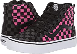 (Checkerboard) Carmine Rose/Black