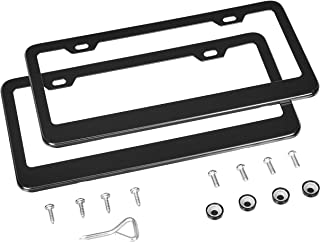 AmazonBasics Matte Aluminum License Plate Frame Pair with Screw Caps - 2-Hole, 12.3 x 6.3'', Black