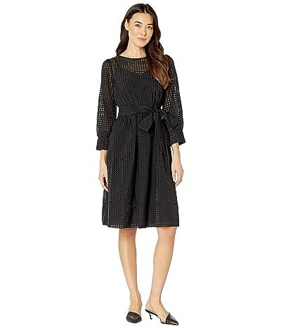 Calvin Klein Organza Burnout Dress with Self Tie Belt (Black) Women