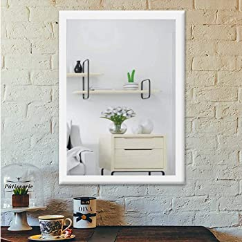 AG Crafts Frame Sober Wood Wall Mirror- ||- Size - 18 X 12 Inch -||- Solid Water Resistant Synthetic Wood Medin in India -|| (White)