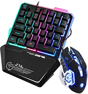 One Handed Gaming Keyboard and Mouse Combo Eofiti USB Wired Mechanical Feel Keypad w/Wrist Rest Support 35 Keys RGB Rainbo...