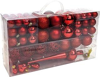 Wohaga® Set de 105 Bolas de Navidad Ø3/4/6cm plástico Adornos del árbol de Navidad decoración navideña decoración para el ...