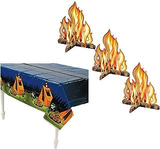 Beistle Premium 3-D Campfire Centerpiece (3-Pack) & Campfire Adventure Tablecover | Children's Reusable Party Decoration |...