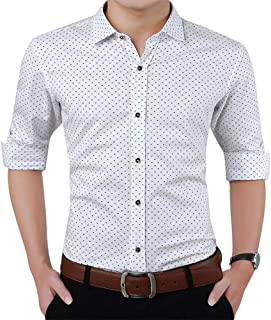 ZYFMAILY Men's Slim Fit Business Casual Long Sleeve Printed Dress Shirt