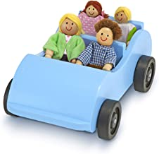 Melissa & Doug Road Trip Wooden Toy Car and 4 Poseable Dolls (4-5 inches each)