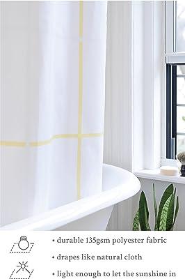 Bathage Modern Grid Shower Curtain (Yellow)