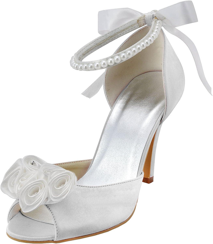 Minishion MZ602 Womens Peep Toe Stiletto Heel Flower Satin Bridal Satin Back Strap Sandal
