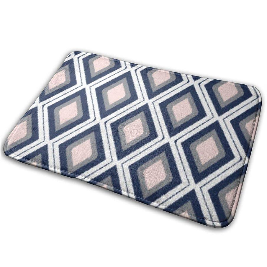 不確実文明売るブラッシュアンドネイビーダイヤモンドイカットパターンバスラグドアマット、柔らかくて吸収性のバスルームマット、バスルーム、リビングルーム、ランドリールーム用の滑り止めと豪華なバスマット15.7