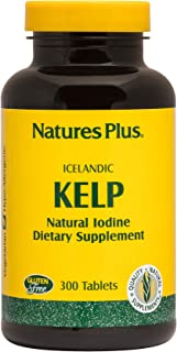 NaturesPlus IcelAndic Kelp - 150 mcg Iodine; 150 mg Kelp- 300 Vegetarian Tablets - Natural Iodine Supplement - Gluten-Free...