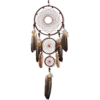 Sonwolf Dream Catcher Handmade Traditional White Feather Dream Catcher Wall Hang Decoration Ornament, 3 Circles