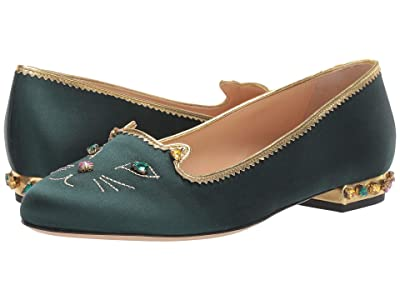 Charlotte Olympia Bejewelled Kitty (Bottle Green/Multi Satin/Strass) Women