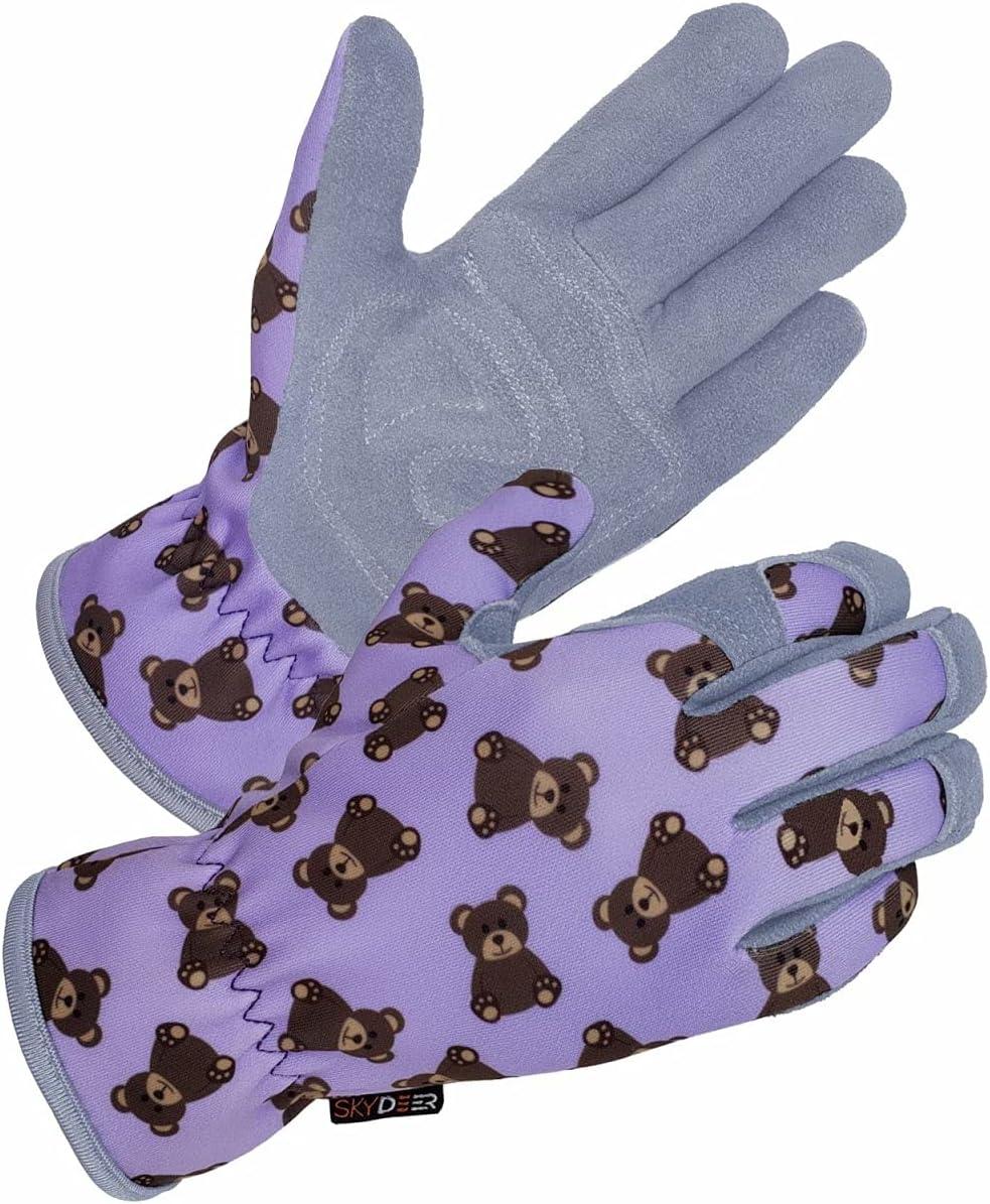 SKYDEER Kids Work Max 58% OFF Gloves with Premium Popular popular L Deerskin Natural Genuine