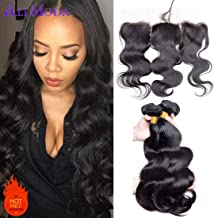 Ali Moda Brazilian Body Wave 3 Bundles With Frontal Closure 9A Virgin Human Hair Weave And Ear To Ear Lace Frontal Closure With Baby Hair Natural Black Color (10 12 14+10)