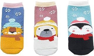 Aikowener, 3 Pack Unisex Bebé Niños Invierno Algodón Calcetines cálidos Calcetines de Navidad estampados coloridos