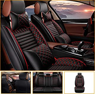 Car Seat Cover for Jaguar F-PACE E-PACE I-PACE F-Type S-Type X-Type Universal Car Seat Protectors 5-Seat Full Set Artificial Leather Waterproof,Easy Install,Black red Deluxe