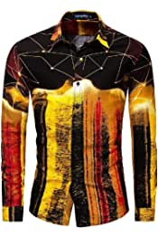 HTOOHTOOH Mens Nightclub Hipster Long Sleeve Slim Fit Party Print Button Front Shirts