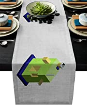 Table Runner Color Cube Cartoon Geometry Overlap - Durable Washable Cotton Linen Table Top Cover Placemats for Kitchen Dinning Tea Table Use 16
