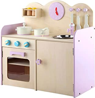 Keezi Kids Wooden Kitchen Play Set - Natural & Pink