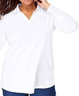 Women's Plus Size Perfect Open Collar Polo Shirt