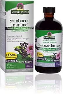 Nature's Answer Alcohol-Free Sambucus Immune Support, 8 Fluid Ounce - Made from 12,000 mg Black Elderberry, Infused with E...