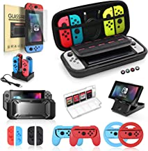 Nintendo Switch Accessories Bundle, 19 in 1 Essential Kit Compatible for Switch Games, Includes Joy-Con Steering Wheel, Co...