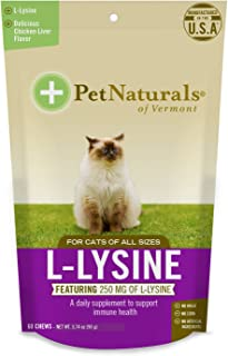 Pet Naturals L-Lysine Chews for Cats, Immune and Respiratory Support Supplement, 60 Bite Sized Chews (3.74oz)