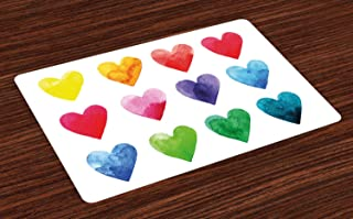 Ambesonne Valentine Place Mats Set of 4, Rainbow Colored Heart Shapes in Watercolors Hand Drawn Romantic Illustration, Washable Fabric Placemats for Dining Table, Standard Size, Pastel Red