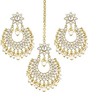 Aheli Ethnic Faux Kundan Beads Earrings Maang Tikka Indian Bollywood Traditional Wedding Party Wear Fashion Jewelry for Women