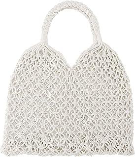 حقائب يدوية الصنع مصنوعة من القطن حبل للنساء الكتف حمل السفر شاطئ الصيد شبكة حقيبة يد تسوق منسوجة حقيبة الكتف للنساء الفتيات