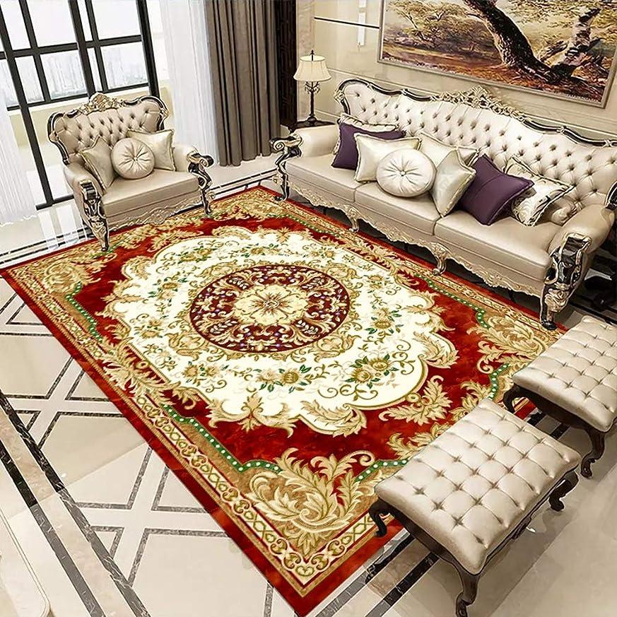 敬物足りないおもしろいフェンコー室内装飾 赤い背景のミニマリストの花模様、北欧のリビングルームの3Dプリントカーペット、ヨーロッパの古典的な高級ソファーのコーヒーテーブルの寝室の超薄型アメリカのカーペット、3つのサイズ、ポリエステル フェンコー室内装飾 (Size : 160*230cm)