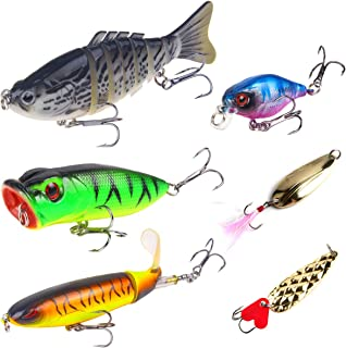 Fishing Lures Bass Lures Set,Topwater Whopper Plopper with Floating Rotating Tail Barb Treble Hooks Multi Jointed Swimbaits Slow Sinking Hard Lure Fishing Tackle Kits Lifelike (Pack of 6 pcs)