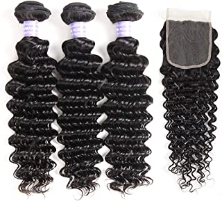 AMZTMY Brazilian Virgin Deep Wave 3 Bundles with Closure Free Part 8A 100% Unprocessed Human Hair Bundles with 4×4 Lace Closure Natural Black (16 18 20+14 Closure)