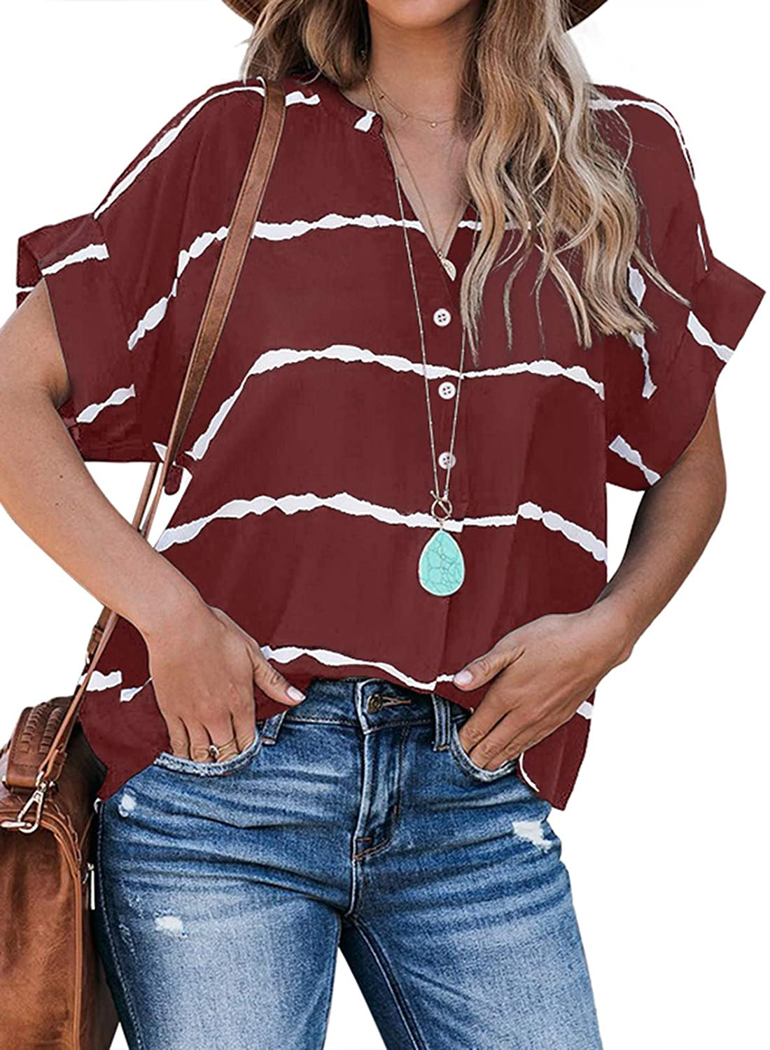 Dokotoo Womens Summer Short Sleeve Shirts V Neck Tops and Blouses for Work