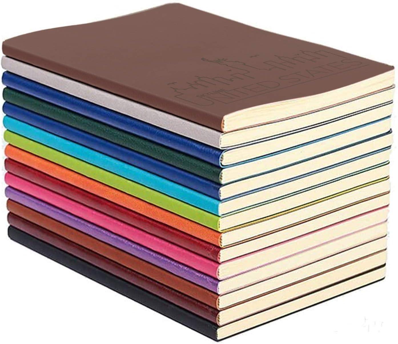 XYTMY Cuaderno A5 de cuero colorido Bloc de notas de escritura Cuadernos Diario de viaje Bloc de notas de oficina y estudiante 128 páginas Paquete de 4 diarios Colores aleatorios