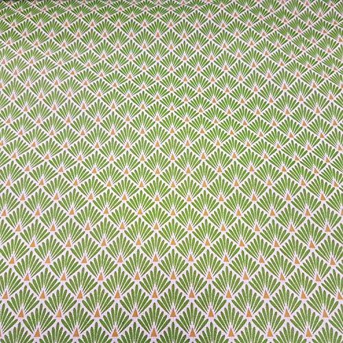 Werthers Stoffe Stoff Meterware Baumwolle grün hellgrün Raute Fächer Japan