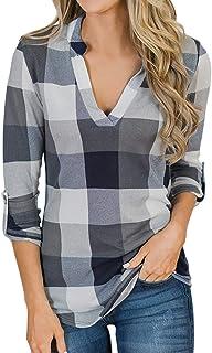 10ce932eace42f YOINS Bluse Damen Oberteile Elegant Sexy Tops Langarmshirt Gestreift  Kariert V-Ausschnitt Hemd