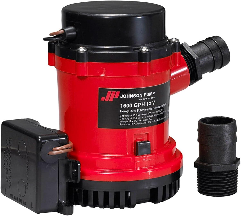 Johnson Pumps 01674001 HD Bilge Pump 1600 GPH w ULT. Switch 12V