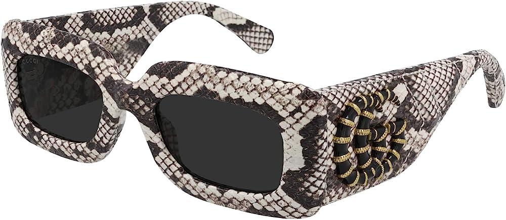 Gucci, occhiali da sole per donna, montatura rivestita in pelle di serpente ayers, lenti grigie GG0816S