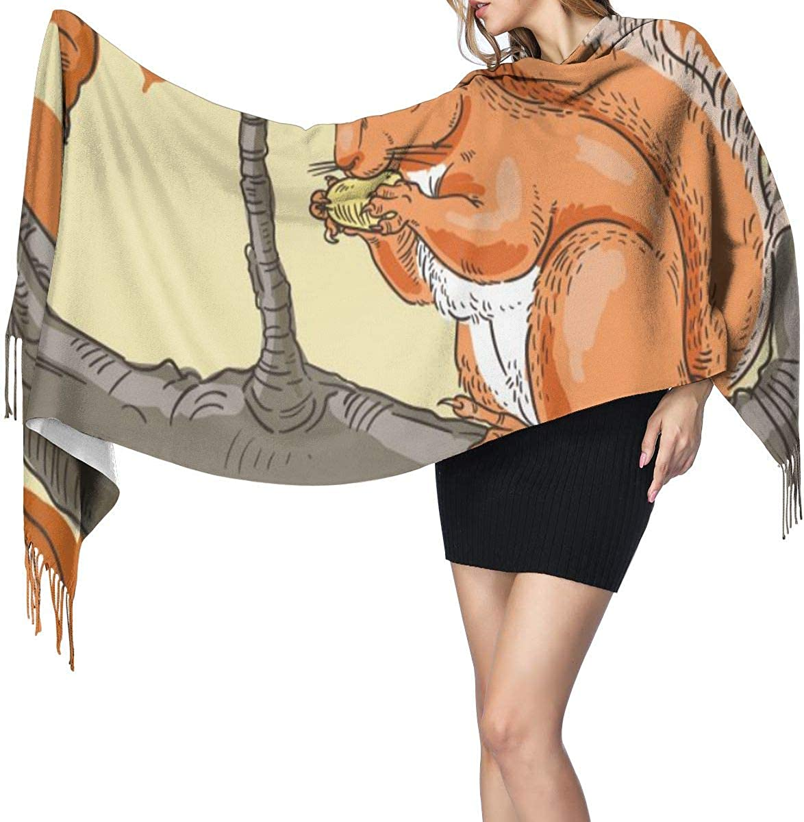 Squirrel Autumn Women'S Long Shawl Scarves Winter Warm Thick Lambswool Scarf