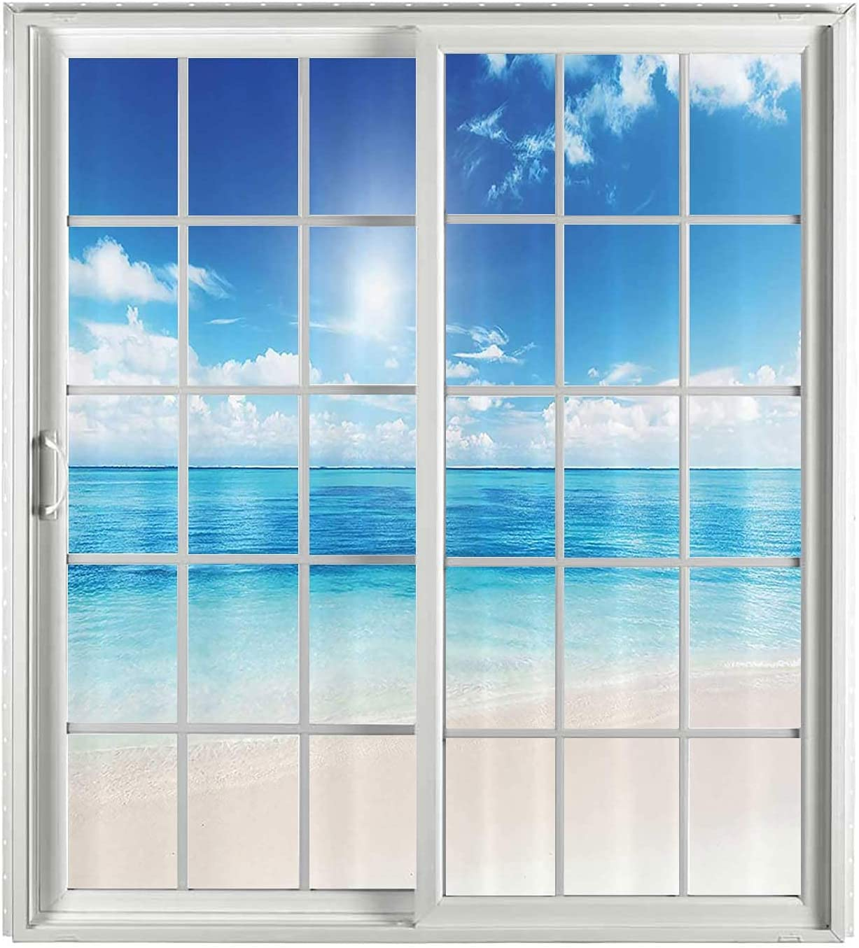 Ocean Decor Window Film Popular brand Privacy Bathroom PCS Turquoi 2 Set Max 66% OFF Cream