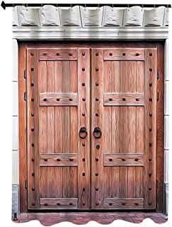 素朴でアンティークなフランスの木製ドア古い中世歴史的入口中世デザイン アート絵画 シャワー カーテン 180 x 200cm ブラウン 浴室 カーテン イル 防水 防カビ加工 洗面所 間仕切り 目隠し用 取付簡単 バス用品 カーテンリング付 クリーム