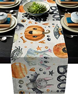 ARTSHOWING Halloween Table Runners Pumpkin Ghost Trick or Treat Table Runner Event Party Supplies Fabric Decorations for Wedding Birthday Baby Shower 18 by 72 Inch