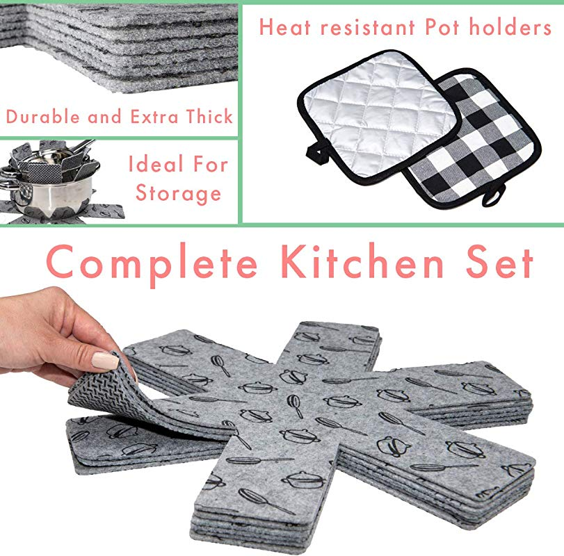Pot And Pan Protectors With Pot Holders 6 Large Thick Pan Separators Pot Dividers Pan Protector Pads For Stacking 15 Inch Wide Anti Slip Backing 1 8 Inch Thick With 2 Heat Resistant Pot Holders