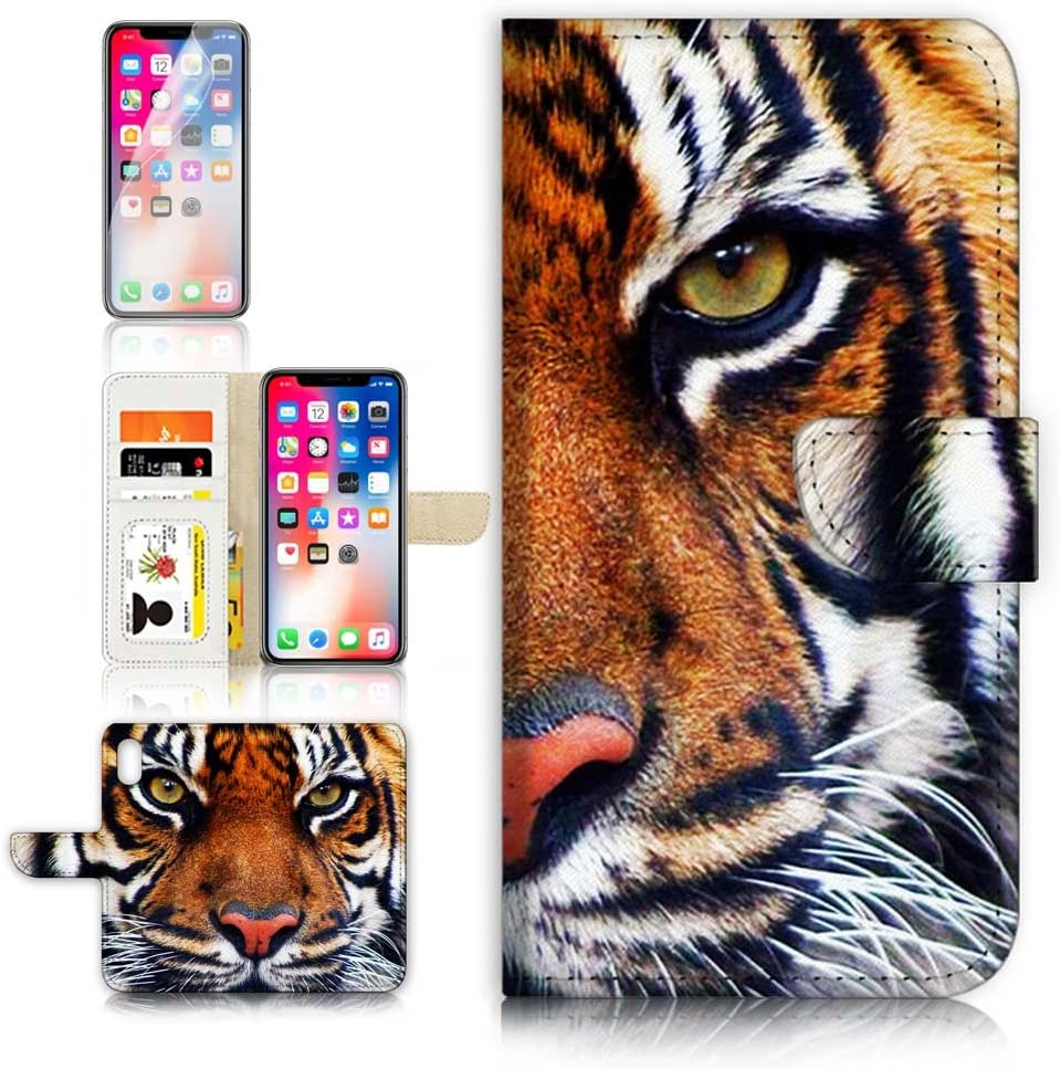 (for iPhone XR) Flip Wallet Case Cover & Screen Protector Bundle - A20015 Tiger
