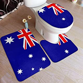 LNUO-2 3 Pieces Bathroom Rug Set, Flag of Australia Door Mat, U-Shaped Contour Rug, Mat and Toilet Lid Cover-Easy Clean