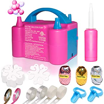 Gifts2U Balloons Pump Balloon Pump Kit with Portable Dual Nozzle Handle Strip Balloon Decorating Strip Kit Balloon Glue Electric Balloon Pump 110V 600W for Party Decoration Rose
